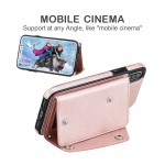 for iPhone XS/X Wallet Case with 5 Card Holder for iPhone XS Leather Case with Belt Double Buttons 5.8 Inches Shockproof Cover Shell Flip Premium PU Rose gold