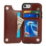 for iPhone 8 Wallet Case with 3 Card holder for iPhone 7 Leather Case with Double Magnetic Buttons Shockproof Cover Shell Flip Premium PU Brown