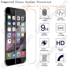 for iPhone 6S Tempered Glass Screen Protector 4.7 Inches Film Touch Sensitive  9H 0.25mm Hard Glass Anti Scratch Premium Clear