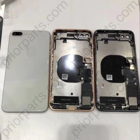 for iPhone 8 Plus Back Housing Cover With Full Flex Cable Charging Port Motor And Small Parts Real Door White