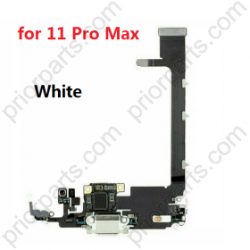 for iPhone 11 Pro Max Charging Port Dock Connector Flex Cable With IC And Mic Microphone White