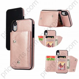 for iPhone XR Wallet Case With 5 Card Holder for iPhone XR Leather Shockproof Cover Shell Flip Premium PU