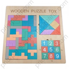 Puzzle Jigsaw Puzzle Digital Huarong Road Toy Early Education Wooden Block Puzzle Toy
