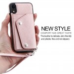 for iPhone XS Max Wallet Case with 5 Card Holder for iPhone XS Max Leather Case with Belt Double Buttons 6.5 Inches Shockproof Cover Shell Flip Premium PU Rose gold