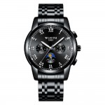 Men's Watch Waterproof Luminous Fashion Sleek Minimalist Quartz Analog Mesh Stainless Steel Chronograph Men's Wrist Watches for Men Nightlight Pointer Plate Display Black