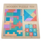Macaron Tetris Puzzle Jigsaw Puzzle Digital Huarong Road Toy Early Education Wooden Block Puzzle Toy
